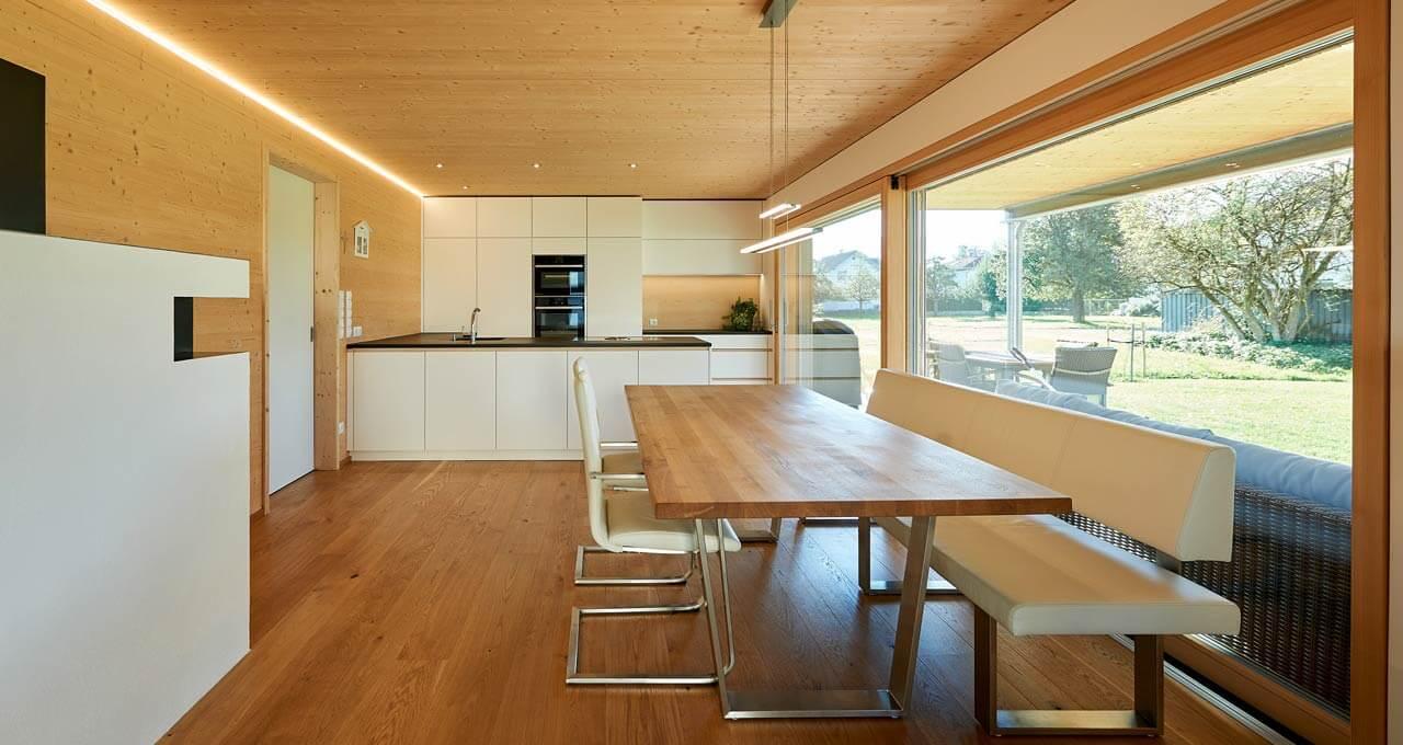 Eine Innenansicht Holzmassivhaus in Lustenau